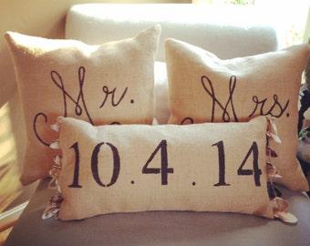 Custom Mr & Mrs Pillows, Seashell and Burlap