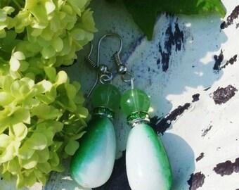 Green & White Glass Earrings