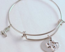 Antique Silver Texas Lone Star State Bangle Inspired by Charm Bracelet, Fast Shipping, Cowboy Boot, Cowgirl, TX, Texas Proud, Southern Belle