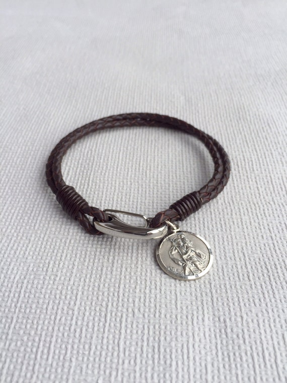 s leather bracelet st christopher charm by myloveandsoul