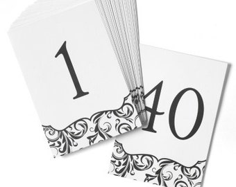 White Table Number Cards Flourish Design for Wedding Reception and Parties