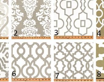 Ecru Print Window Curtains- Pair Of 50 Inch Wide Drapery Panels- Window Treatment