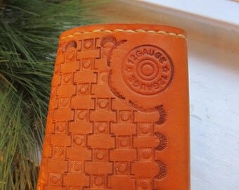 Leather Wallet Hand Stamped Leather Wallet Gift for Him Leather Accessory Ammo Shell Design