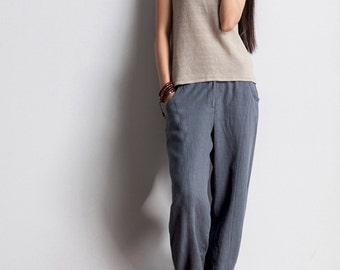Womens yards panty haroun pants panty elastic waist linen foot trousers