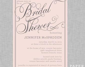 Pink and Grey Elegant Bridal Shower Invitation