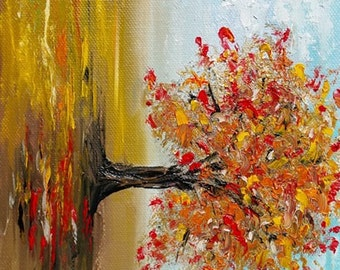 Small painting landscape Tree painting Tree art  Autumn painting Landscape art Autumn leaves Nature art Oil painting by Alina Jelvez 8x6""
