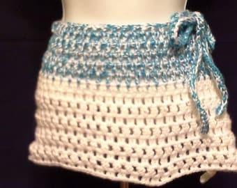 Crochet Mint Blue & White Mini Skirt