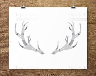 Items Similar To Antler Silhouette Deer Painting Winter