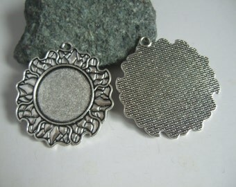 1 Inch Round Blanks Pendant Trays , 25mm Settings Bezel for Cabochon antique silver 10pcs