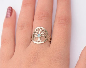 Tree of life ring Sterling silver tree of life ring with opal stone tree ring