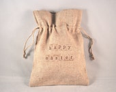 5 Drawstring Easter Gift Bags - Natural Linen Cotton
