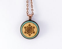 Winter Snowflake Laser Engraved and Painted in Cherry Wood Necklace Pendant