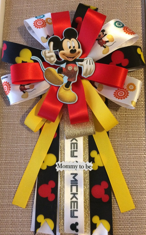 mickey mouse inspired baby shower corsage pin by babyguardians