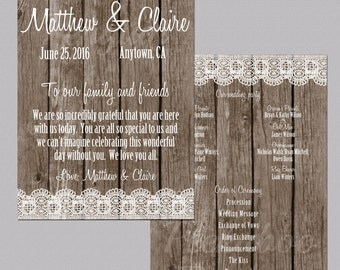 Printable Wedding Programs, Rustic Wedding Programs, Wood And Lace Programs, Country Wedding Programs, Ceremony Programs, Digital, Printable