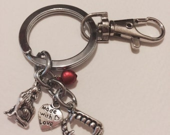 Team Edward Vampire Fangs Twilight with Red Bell Keychain Made With Love