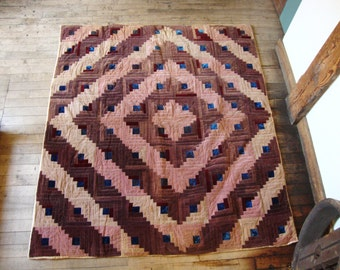 Vintage 1920's~30's Cotton Velveteen Log Cabin or Barn Raising Quilt * Mauves-Rose-Blue