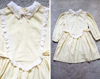 Vintage - Girls 1960s Pastel Yellow Ruffle Trim Dress (Size 6)