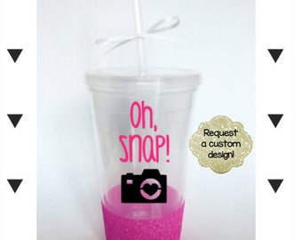 Photographer Camera Glitter Tumbler // Photographer Gift // Acrylic Tumbler // Glitter Tumbler // Oh Snap // Camera Gift //Glitter Cup
