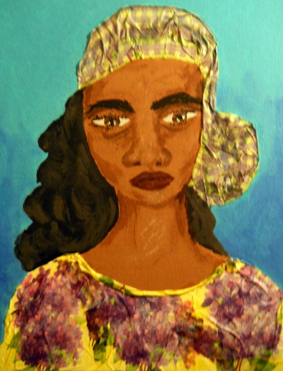 Mixed Media Painting on Canvas Panel EMELIEANNE young Caribbean woman African American Artist Stacey Torres Black Art ethnic Caribbean woman