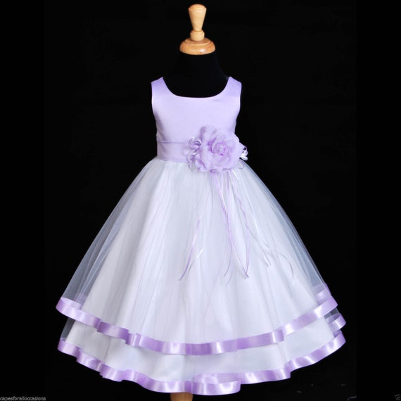 Lilac Flower Girl baby dress ribbon sash pageant by