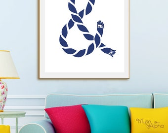 Navy Blue Print, Nautical Printable Art, Navy Color, Navy Print, Nautical Navy Wall Art. And Sign, Typography Ampersand Sign, Typography Art