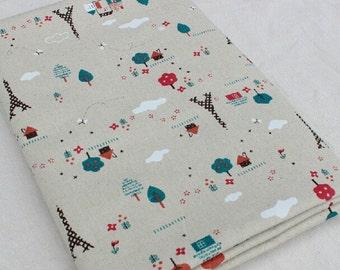 Paris tower floral linen fabrics cotton linen fabric- DIY Manual Fabric,Curtain fabric/ / tablecloth - 1/2 yard