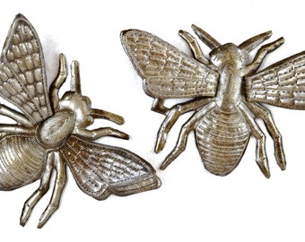 """Bee Metal Art, hand cut from Recycled Steel Barrels in Haiti, (Set of 2 Bee's) 3-Dimentional Wings, 8"""" x 6"""""""