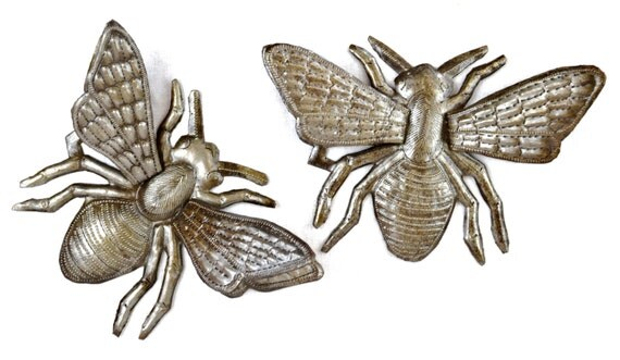 "Bee Metal Art, hand cut from Recycled Steel Barrels in Haiti, (Set of 2 Bee's) 3-Dimentional Wings, 8"" x 6"""