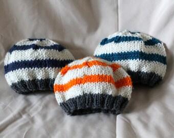 Striped Baby Beanie / Knit Hat (Newborn to 12 months) Photo Prop