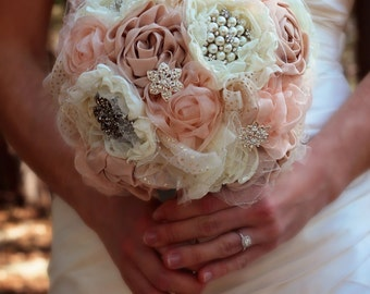 Fabric Wedding Bouquet | Wedding Bouquet | Bridal Bouquet | Romantic Wedding Flowers | Large Fabric Wedding Flowers | Rustic Wedding Bouquet