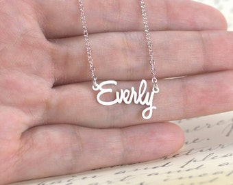 Small Name Necklace - Tiny nameplate necklace, any word or phrase necklace, custom name jewelry