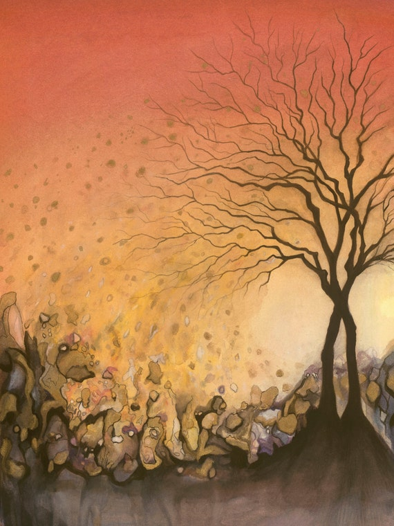 "Giclée print of original mixed media painting by Amber Gorsline - ""Trees"""