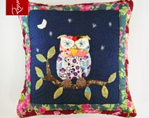 FREE SUMMER SHIPPING! Owl Appliqué Quilted Pillow - Cushion Covers - Throw Pillows - Kids Pillow - Decorative Pillows