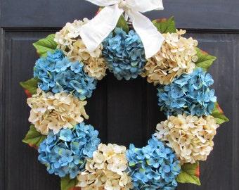 Winter Wreath for Front Door, Wreath for Winter, Cream & Blue Hydrangea Wreath, Winter Door Wreath, Winter Decoration, Winter Door Decor