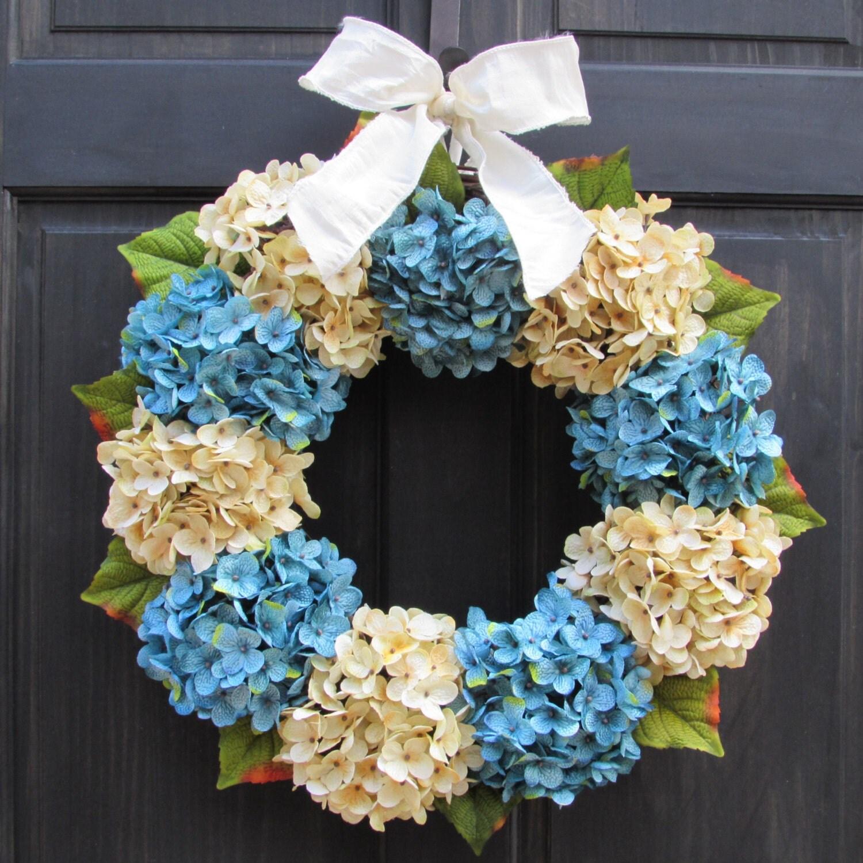winter wreath for front door wreath for winter cream blue. Black Bedroom Furniture Sets. Home Design Ideas