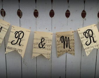 MR & MRS WEDDING paper banner garland sheet music
