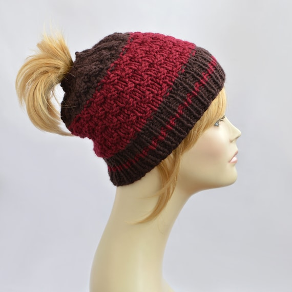 Knit Hat Pattern Ponytail Hole : Ponytail Hats Hat with Hole for Pony Tail Hat by SlouchyBeanie
