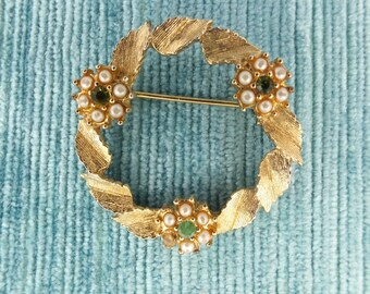 Vintage Sara Coventry  Garland Wreath Leaf Brooch/ Gold Tone Pearl and Rhinestones