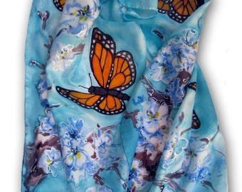 Cherry Blossom and Monarch Butterflies Hand Painted Silk Scarf. Fashion Scarf. Gift For Her. Wearable Art. Large 15x60  Blue, Orange