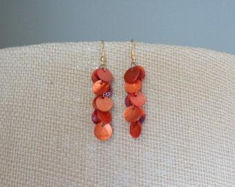 Orange Capiz Shell Bead Dangle Earrings