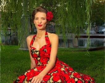 Pin Up Dress Red Sun Summer Dress Floral Dress Red Poppy Flower Dress Rockabilly 50s Retro Style Swing Dress Prom Bridesmaid Tea Party Dress