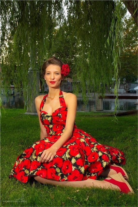 Pin up dress red christmas dress floral dress by ladymayraclothing
