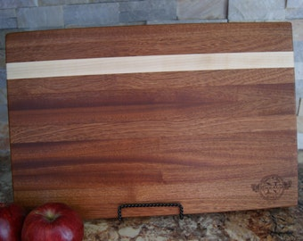Personalized Butcher Block Engraved Cutting Board Mahogany w/ Maple Strip Edge grain Logo Name Company Gift, Wedding Gift, Appreciation Gift