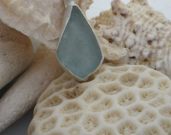 Sea Glass Pendant, Baby blue in sterling silver.
