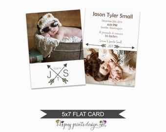 Birth Announcement Card Template - 5x7 Digital Photography Photoshop File - Template for Photographers - NC14 - INSTANT DOWNLOAD