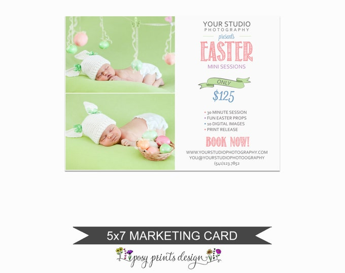 Easter Mini Session Marketing Board - Template for Photographers - Digital Photoshop Template - 5x7 Photography Design - ECM01