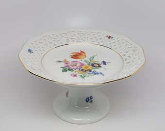 1960's Thun, Czech Republic, Reticulated Porcelain Floral Compote,
