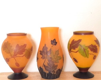 Vintage Set of THREE Cameo Glass Orange Vases/Planters Fall Scenery Leaves FREE USA Shipping