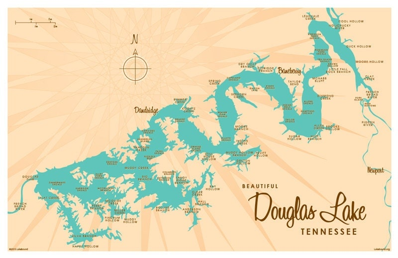 Douglas Lake TN Map Print - Tn lakes map