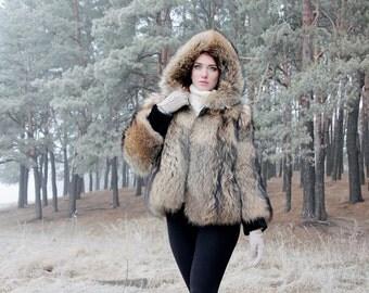 Real raccoon fur jacket/ fur coat